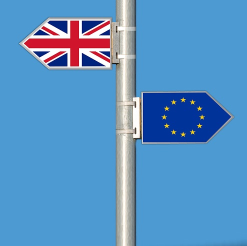 Brexit Entscheidung. Flaggen von Großbritannien